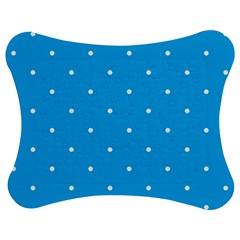 Mages Pinterest White Blue Polka Dots Crafting Circle Jigsaw Puzzle Photo Stand (bow) by Alisyart