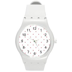 Mages Pinterest White Red Polka Dots Crafting Circle Round Plastic Sport Watch (m) by Alisyart