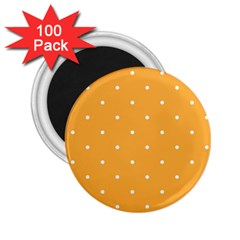 Mages Pinterest White Orange Polka Dots Crafting 2 25  Magnets (100 Pack)  by Alisyart