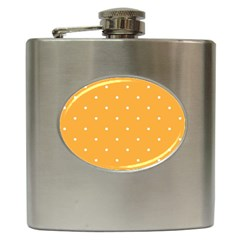 Mages Pinterest White Orange Polka Dots Crafting Hip Flask (6 Oz) by Alisyart