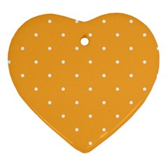 Mages Pinterest White Orange Polka Dots Crafting Heart Ornament (two Sides)