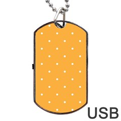 Mages Pinterest White Orange Polka Dots Crafting Dog Tag Usb Flash (two Sides) by Alisyart
