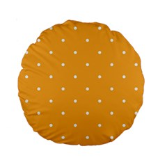 Mages Pinterest White Orange Polka Dots Crafting Standard 15  Premium Round Cushions by Alisyart