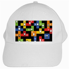 Mobile Phone Signal Color Rainbow White Cap
