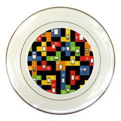 Mobile Phone Signal Color Rainbow Porcelain Plates by Alisyart