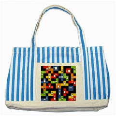 Mobile Phone Signal Color Rainbow Striped Blue Tote Bag