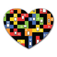Mobile Phone Signal Color Rainbow Heart Mousepads