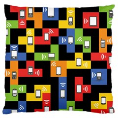 Mobile Phone Signal Color Rainbow Large Flano Cushion Case (one Side) by Alisyart