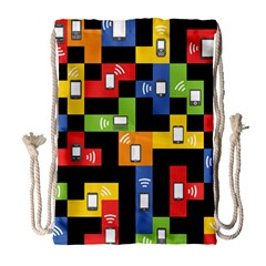 Mobile Phone Signal Color Rainbow Drawstring Bag (large)