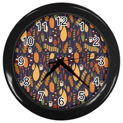 Macaroons Autumn Wallpaper Coffee Wall Clocks (black)
