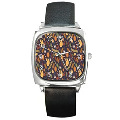 Macaroons Autumn Wallpaper Coffee Square Metal Watch by Alisyart