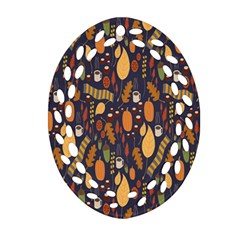 Macaroons Autumn Wallpaper Coffee Ornament (oval Filigree)