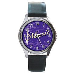 Music Flyer Purple Note Blue Tone Round Metal Watch