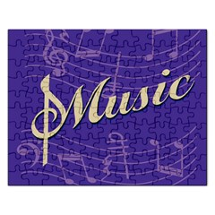 Music Flyer Purple Note Blue Tone Rectangular Jigsaw Puzzl
