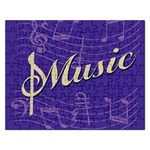 Music Flyer Purple Note Blue Tone Rectangular Jigsaw Puzzl Front