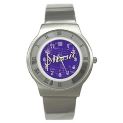 Music Flyer Purple Note Blue Tone Stainless Steel Watch by Alisyart