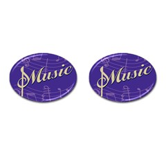 Music Flyer Purple Note Blue Tone Cufflinks (oval)