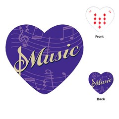 Music Flyer Purple Note Blue Tone Playing Cards (heart)  by Alisyart