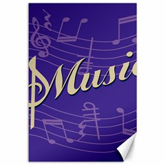 Music Flyer Purple Note Blue Tone Canvas 12  X 18   by Alisyart