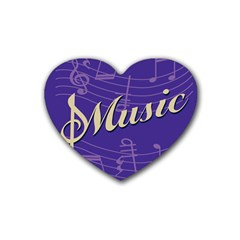 Music Flyer Purple Note Blue Tone Heart Coaster (4 Pack)