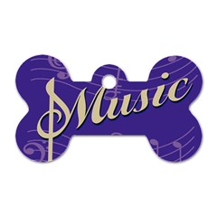 Music Flyer Purple Note Blue Tone Dog Tag Bone (two Sides)