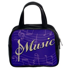 Music Flyer Purple Note Blue Tone Classic Handbags (2 Sides) by Alisyart