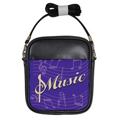 Music Flyer Purple Note Blue Tone Girls Sling Bags
