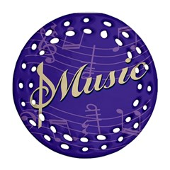 Music Flyer Purple Note Blue Tone Round Filigree Ornament (two Sides)