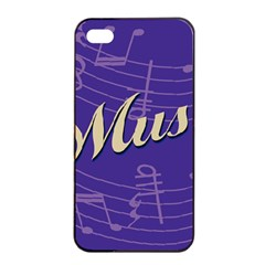 Music Flyer Purple Note Blue Tone Apple Iphone 4/4s Seamless Case (black) by Alisyart