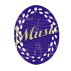Music Flyer Purple Note Blue Tone Oval Filigree Ornament (two Sides) by Alisyart