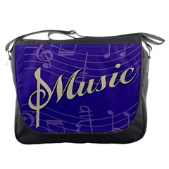 Music Flyer Purple Note Blue Tone Messenger Bags by Alisyart