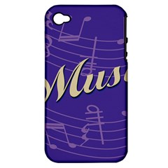 Music Flyer Purple Note Blue Tone Apple Iphone 4/4s Hardshell Case (pc+silicone) by Alisyart