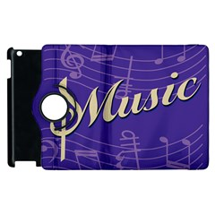 Music Flyer Purple Note Blue Tone Apple Ipad 3/4 Flip 360 Case