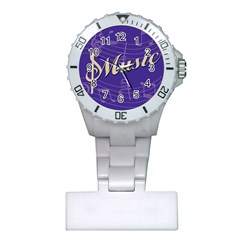 Music Flyer Purple Note Blue Tone Plastic Nurses Watch by Alisyart