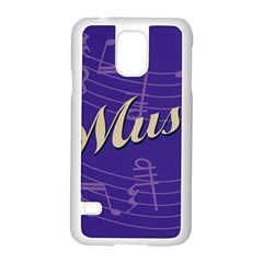 Music Flyer Purple Note Blue Tone Samsung Galaxy S5 Case (white)