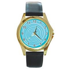 Mustard Logo Hole Circle Linr Blue Round Gold Metal Watch by Alisyart