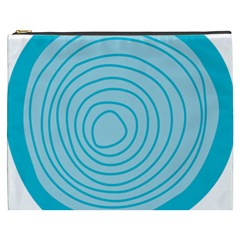 Mustard Logo Hole Circle Linr Blue Cosmetic Bag (xxxl)