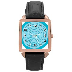 Mustard Logo Hole Circle Linr Blue Rose Gold Leather Watch  by Alisyart