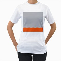 Orange Gray Scallop Wallpaper Wave Women s T Shirt (white) (two Sided) by Alisyart