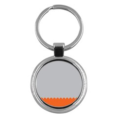 Orange Gray Scallop Wallpaper Wave Key Chains (round)  by Alisyart