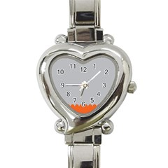 Orange Gray Scallop Wallpaper Wave Heart Italian Charm Watch by Alisyart