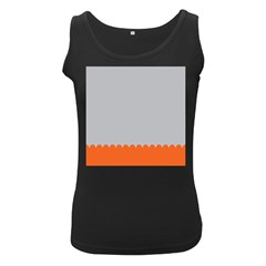 Orange Gray Scallop Wallpaper Wave Women s Black Tank Top