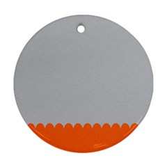 Orange Gray Scallop Wallpaper Wave Round Ornament (two Sides)