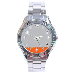 Orange Gray Scallop Wallpaper Wave Stainless Steel Analogue Watch