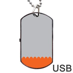 Orange Gray Scallop Wallpaper Wave Dog Tag Usb Flash (two Sides) by Alisyart