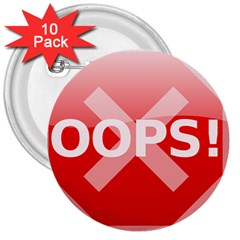 Oops Stop Sign Icon 3  Buttons (10 Pack)  by Alisyart