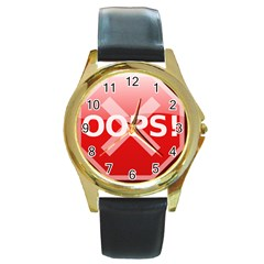 Oops Stop Sign Icon Round Gold Metal Watch by Alisyart