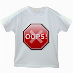 Oops Stop Sign Icon Kids White T Shirts by Alisyart