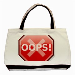 Oops Stop Sign Icon Basic Tote Bag (two Sides) by Alisyart