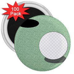 Golf Image Ball Hole Black Green 3  Magnets (100 Pack) by Alisyart